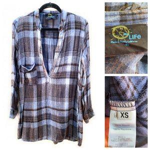 Blue Life Flannel Plaid Tunic Top Dress